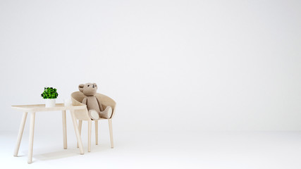 teddy bear in kid room or living area on white background - 3D Rendering