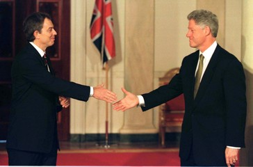 PM BLAIR AND WIFE ARRIVE AT THE WHITE HOUSE