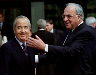 French Prime Minister Edouard Balladur is welcomed by German Chancellor Helmut Kohl at the Chancelle..