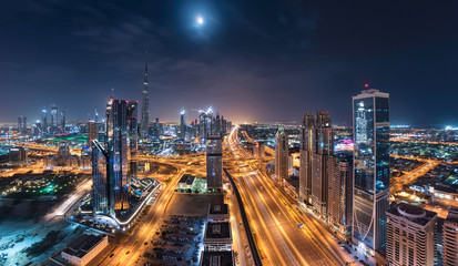 Dubai Downtown Towers With Shiekh Zayed Road in a one beautiful panoramic night view