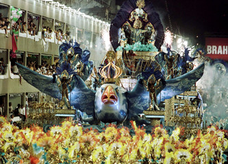 A float of the Tradicao samba school moves up the avenue during a carnival parade at the Sambadrome ..