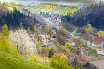 Wall Mural - Rural landscape Bran in spring season, Transylvania landmark, Romania