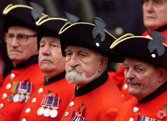 The Chelsea Pensioners march past the Cenotaph during the Remembrance service in central London Nove..