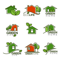 vector set of ecological homes, green leaves and trees for your logo signs and icons