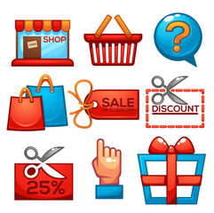 vector collection of shopping and sale icons for your mobile app or game in carton style