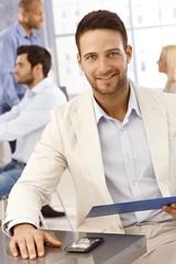 Closeup portrait of happy businessman