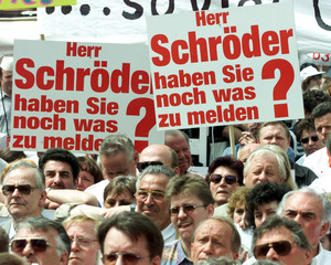 PEOPLE PROTEST FOR TAX FREE LOW INCOME JOBS IN BONN.