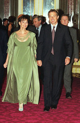 BRITISH PM BLAIR AND WIFE CHERIE ARRIVE AT A RECEPTION FOR LONDON FASHION WEEK.