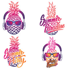 Enjoy summer. Set of summer emblems. Pineapple with sunglases and headphones. Vector illustration.