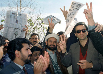 PAKISTANI JOURNALISTS PROTEST AGAINST THE GOVERNMENT OF PRIME MINISTER NAWAZ SHARIF IN ISLAMABAD.