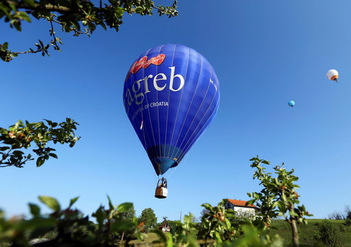 Hot air balloons float during the hot air balloon festival in Zabok