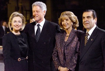 President Clinton and first lady Hillary Rodham Clinton stand with Chilean President Eduardo Frei an..