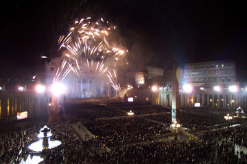 FIREWORKS FOR THE NEWLY RESTORED FACADE OF ST. PETER'S BASILICA.