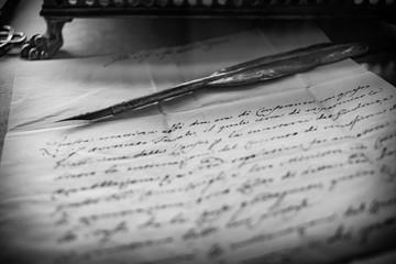 Goose pen and parchment