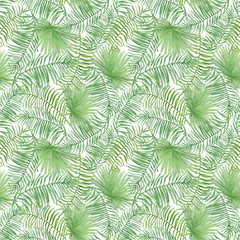 Watercolor tropical seamless pattern with leaves.