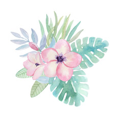 Watercolor illustration, tropical flowers, leaves