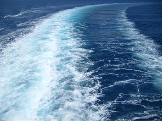 Detail of water trail behind ferry boat