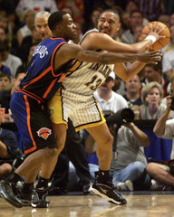 KNICKS CHILDS DEFENDS PACERS MARK JACKSON.