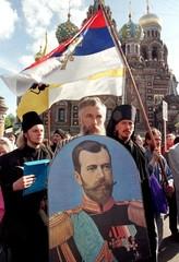 RUSSIAN PROTESTORS CARRY A PORTRAIT OF THE LAST TSAR NICOLAS II.