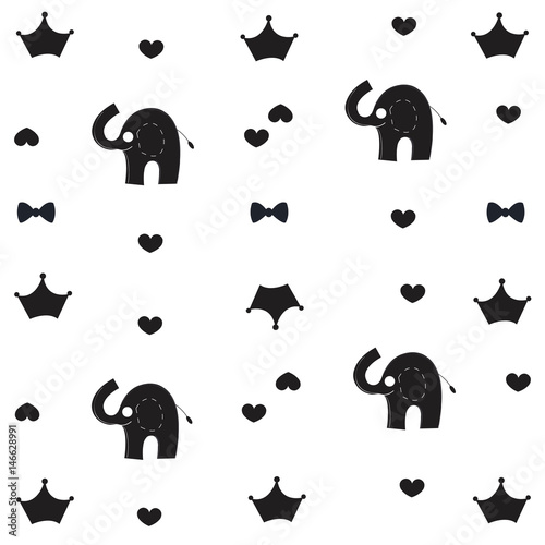Elephant Crown And Bow Tie Baby Black White Pattern Wallpaper