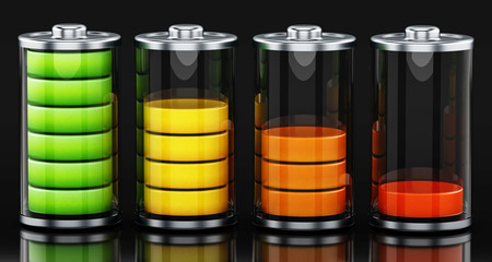 Four different battery levels. 3D illustration