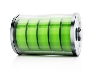 Illustration showing full battery levels. 3D illustration