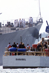KENNEDY FAMILY RIDE TO USS BRISCOE ON ROUTE TO BURY PLANE CRASH VICTIMS.