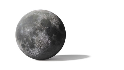 3d render, moon isolated on white background