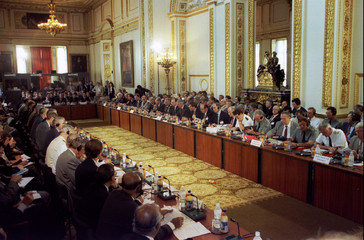 Delegates assemble before the start of the one-day conference on Bosnia at London's Lancaster House ..