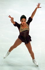 Michelle Kwan of the United States performs during the ladies short program at the Trophee Lalique, ..