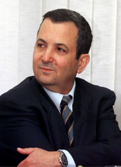 Israeli Foreign Minister Ehud Barak on his first day at work in the Foreign Ministry as the position..