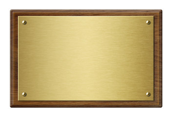Wall Mural - Wood frame with gold metal plaque 3d illustration