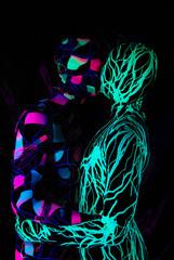 uv dancers in the nightclub wearing zentai catsuits