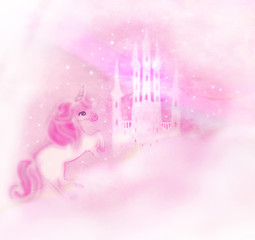 Castle in the clouds and Cute unicorn