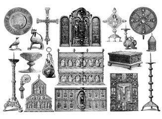Medieval liturgical and artistic manufacts, used to decorated churches and altars with religious symbols, engraving