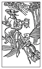 Flying witches with animal heads, medieval engraving