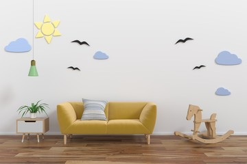 Mock up wall in child room interior.3d rendering, 3d illustration