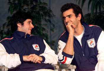 FRANCE'S DAVIS CUP PLAYERS GROSJEAN AND CEDRIC PIOLINE CHAT.