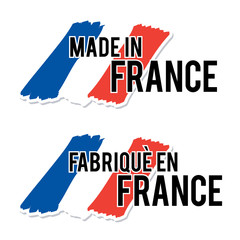 Made in France with French Flag Quality Label on the white Background.