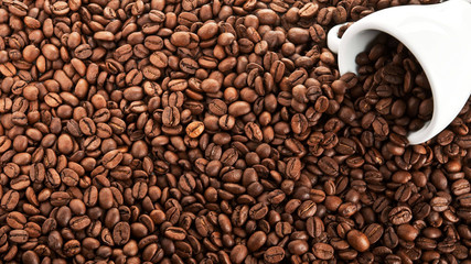 texture of coffee beans with white Cup