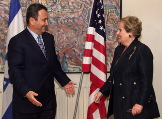 MADELEINE ALBRIGHT MEETS EHUD BARAK ON ARRIVAL IN JERUSALEM.