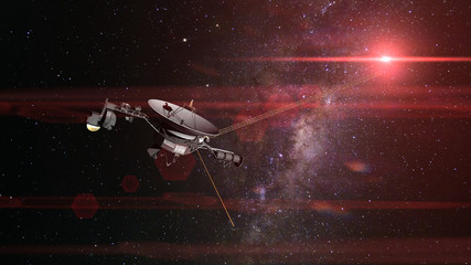 Voyager spacecraft in front of the Milky Way galaxy and a bright red star in deep space