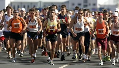 Competitors run during the Nordea Riga international marathon in Riga