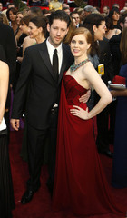 """Amy Adams, best supporting actress nominee for """"Doubt"""", poses with her fiance Darren Le Gallo at the 81st Academy Awards in Hollywood"""
