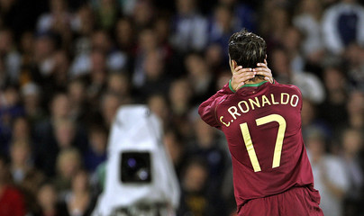 Portugal's Ronaldo reacts during their Euro 2008 qualifying match against Finland in Helsinki