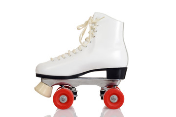 side view women white quad roller skate