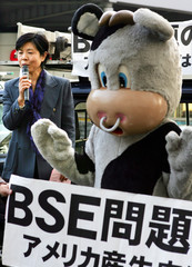 Activists from the Consumers Union of Japan call for opposition against US beef imports in Ginza