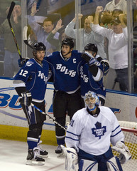 Tampa Bay Lightning's Malone, Lecavalier and Stamkos celebrate goal during their NHL hockery game against in Tampa