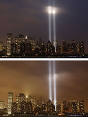 """The """"Tribute in Lights"""" transitions in the night sky on the skyline of lower Manhattan as the sixth anniversary of the attacks on the World Trade Center is observed in New York"""