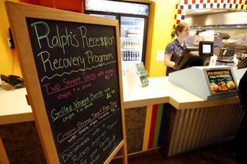 """""""Ralph's Recession Recovery Program"""" menu is advertised on blackboard at Rubio's Fresh Mexican Grill restaurant in Riverside"""
